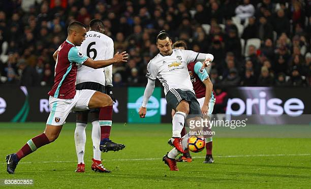Zlatan Ibrahimovic of Manchester United scores his team's second goal during the Premier League match between West Ham United and Manchester United...