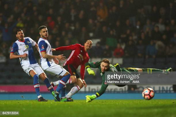 Zlatan Ibrahimovic of Manchester United scores his team's second goal to make the score 12 during the Emirates FA Cup Fifth Round match between...