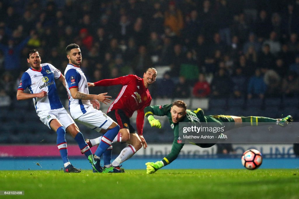 Zlatan Ibrahimovic of Manchester United scores his team's second goal to make the score 1-2 during the Emirates FA Cup Fifth Round match between Blackburn Rovers and Manchester United at Ewood Park on February 19, 2017 in Blackburn, England.