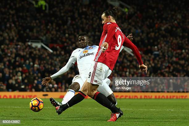 Zlatan Ibrahimovic of Manchester United scores his team'ssecond goal during the Premier League match between Manchester United and Sunderland at Old...