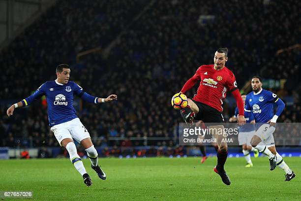 Zlatan Ibrahimovic of Manchester United scores the first goal to make the score 01 during the Premier League match between Everton and Manchester...