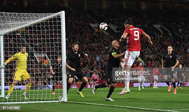 Zlatan Ibrahimovic of Manchester United scores the opening goal during the UEFA Europa League group A match between Manchester United FC and FC Zorya...