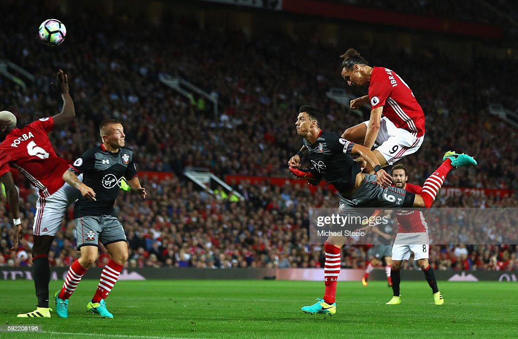Zlatan Ibrahimovic of Manchester United scores the opening goal with a header during the Premier League match between Manchester United and Southampton at Old Trafford on August 19, 2016 in Manchester, England.
