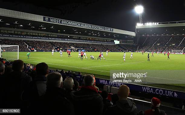 Zlatan Ibrahimovic of Manchester United scores the second goal to make the score 02 during the Premier League match between West Bromwich Albion and...