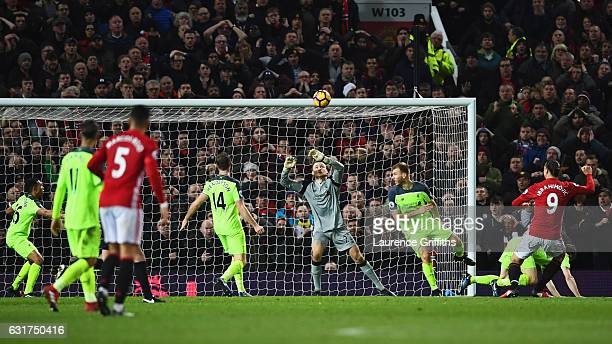 Zlatan Ibrahimovic of Manchester United scores their first and equalising goal during the Premier League match between Manchester United and...