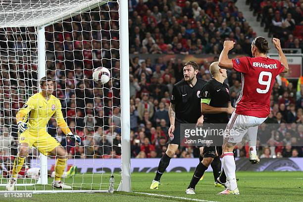 Zlatan Ibrahimovic of Manchester United scores their first goal during the UEFA Europa League match between Manchester United FC and FC Zorya Luhansk...