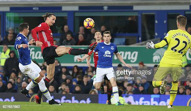 Zlatan Ibrahimovic of Manchester United scores their first goal during the Premier League match between Everton and Manchester United at Goodison...