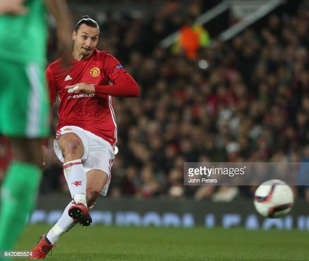 Zlatan Ibrahimovic of Manchester United scores their first goal during the UEFA Europa League Round of 32 first leg match between Manchester United...