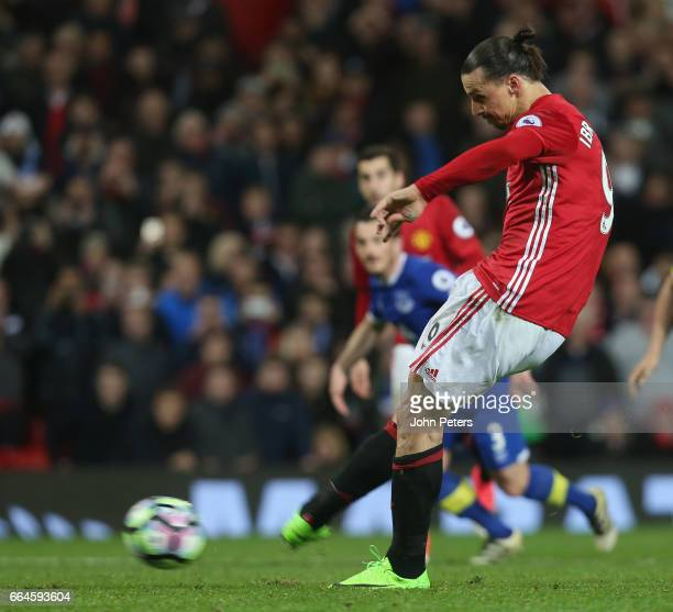 Zlatan Ibrahimovic of Manchester United scores their first goal during the Premier League match between Manchester United and Everton at Old Trafford...