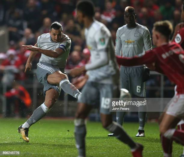 Zlatan Ibrahimovic of Manchester United scores their first goal during the Carabao Cup QuarterFinal match between Bristol City and Manchester United...