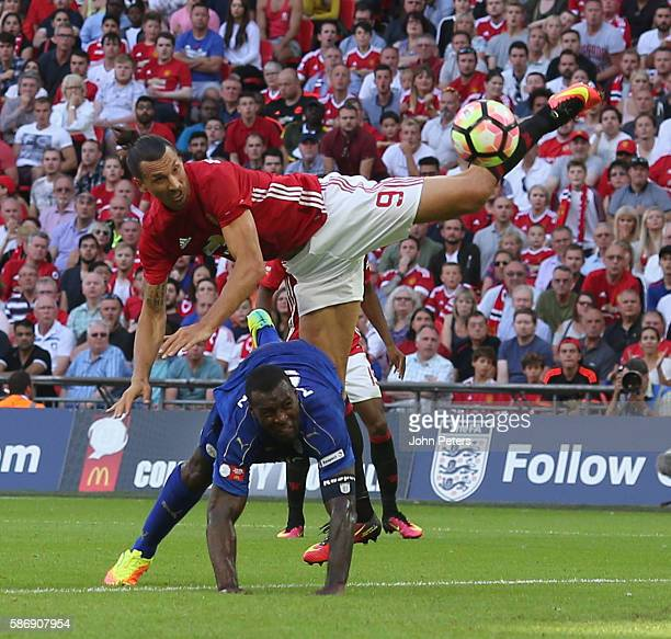 Zlatan Ibrahimovic of Manchester United scores their second goal during the FA Community Shield match between Leicester City and Manchester United at...