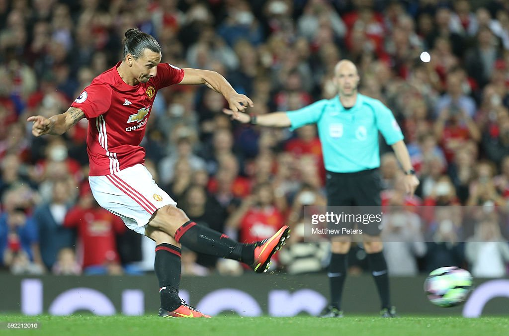 Zlatan Ibrahimovic of Manchester United scores their second goal during the Premier League match between Manchester United and Southampton at Old Trafford on August 19, 2016 in Manchester, England.