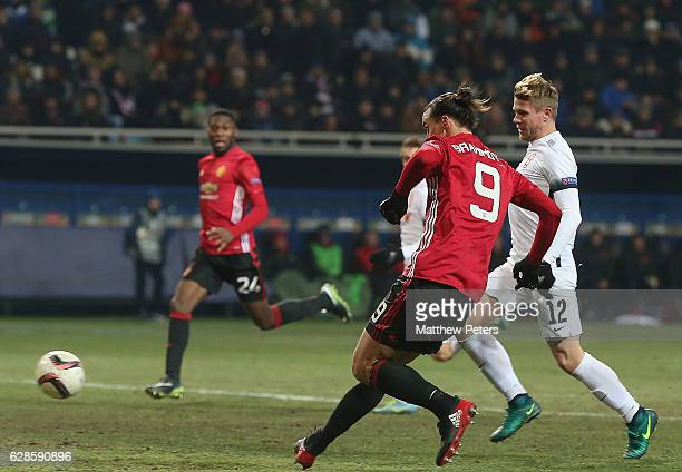 Zlatan Ibrahimovic of Manchester United scores their second goal during the UEFA Europa League match between FC Zorya Luhansk and Manchester United...