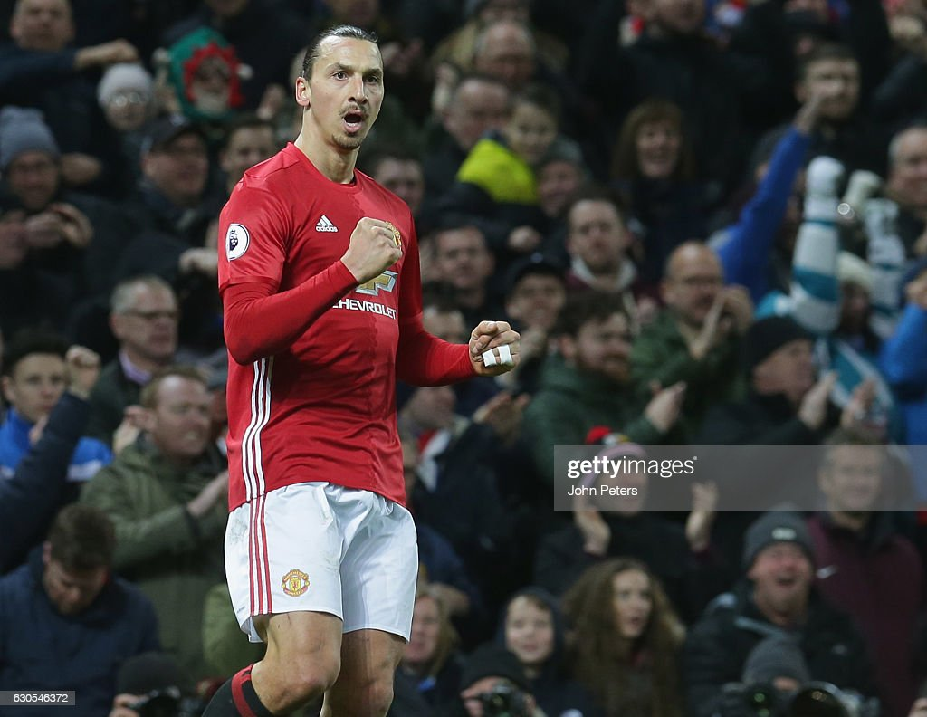 Zlatan Ibrahimovic of Manchester United scores their second goal during the Premier League match between Manchester United and Sunderland at Old Trafford on December 26, 2016 in Manchester, England.