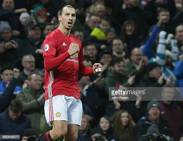 Zlatan Ibrahimovic of Manchester United scores their second goal during the Premier League match between Manchester United and Sunderland at Old...