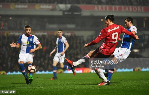 Zlatan Ibrahimovic of Manchester United scores their second goal during The Emirates FA Cup Fifth Round match between Blackburn Rovers and Manchester...