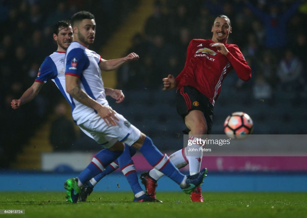 Zlatan Ibrahimovic of Manchester United scores their second goal during the Emirates FA Cup Fifth Round match between Blackburn Rovers and Manchester United at Ewood Park on February 19, 2017 in Blackburn, England.