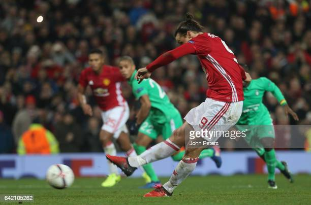 Zlatan Ibrahimovic of Manchester United scores their third goal during the UEFA Europa League Round of 32 first leg match between Manchester United...