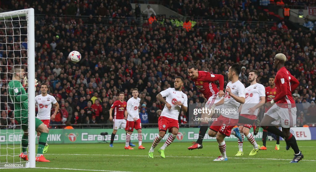 Zlatan Ibrahimovic of Manchester United scores their third goal during the EFL Cup Final match between Manchester United and Southampton at Wembley Stadium on February 26, 2017 in London, England.
