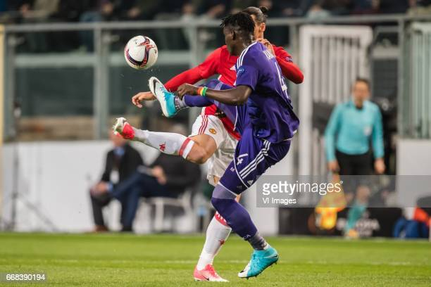 Zlatan Ibrahimovic of Manchester United Serigne Mbodj of RSC Anderlechtduring the UEFA Europa League quarter final match between RSC Anderlecht and...