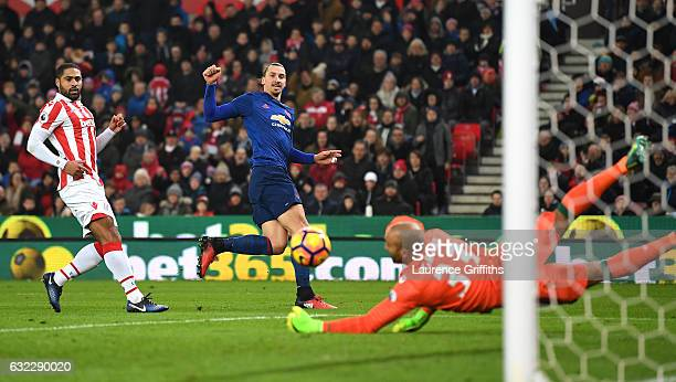Zlatan Ibrahimovic of Manchester United shoots during the Premier League match between Stoke City and Manchester United at Bet365 Stadium on January...