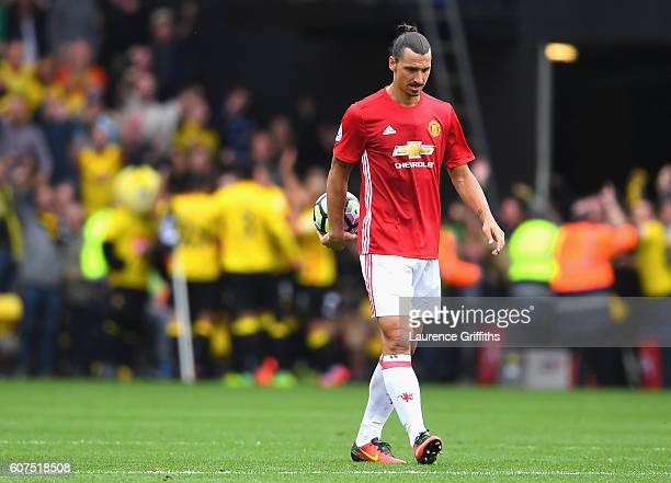 Zlatan Ibrahimovic of Manchester United shows dejection while walking off the pitch during the Premier League match between Watford and Manchester...