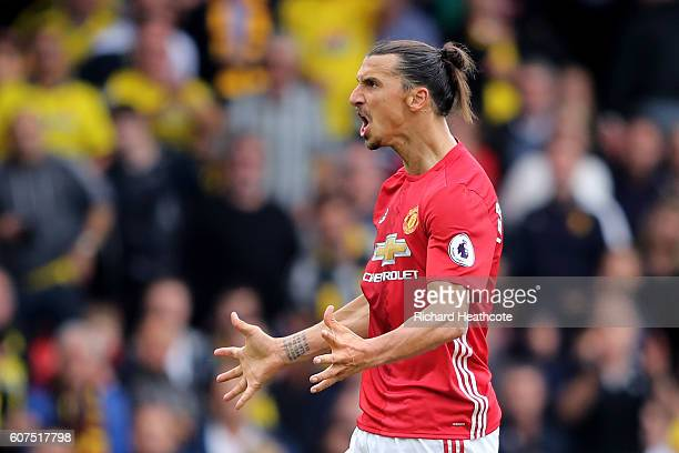 Zlatan Ibrahimovic of Manchester United shows frustration after foulding a Watford player during the Premier League match between Watford and...