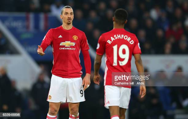 Zlatan Ibrahimovic of Manchester United speaks to Marcus Rashford of Manchester United during the Premier League match between Leicester City and...
