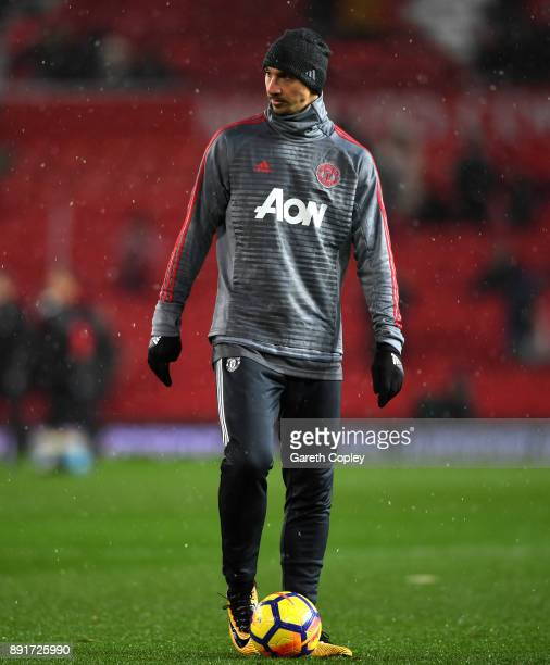 Zlatan Ibrahimovic of Manchester United warms up prior to the Premier League match between Manchester United and AFC Bournemouth at Old Trafford on...