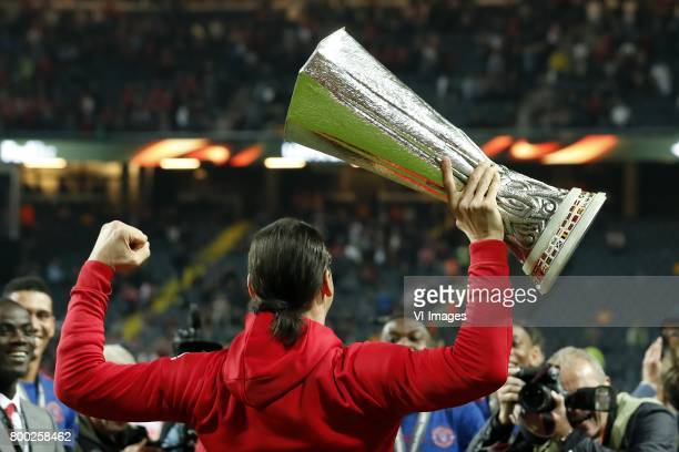 Zlatan Ibrahimovic of Manchester United with the Coupe UEFA the UEFA cup the Europa League trophyduring the UEFA Europa League final match between...