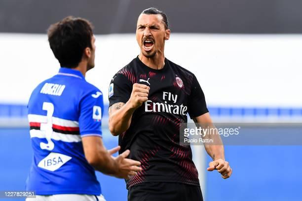 Zlatan Ibrahimovic of Milan celebrates after scoring a goal during the Serie A match between UC Sampdoria and AC Milan at Stadio Luigi Ferraris on...