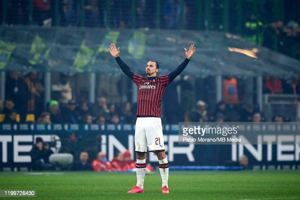 Zlatan Ibrahimovic of Milan celebrates after scoring his team second goal during the Serie A match between FC Internazionale and AC Milan at Stadio...