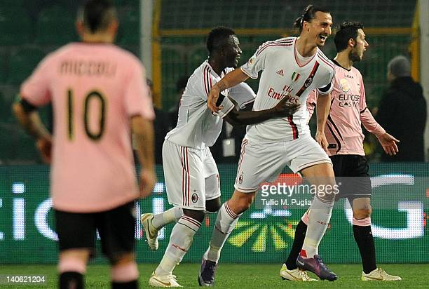 Zlatan Ibrahimovic of Milan celebrates after scoring his team's second goal during the Serie A match between US Citta di Palermo and AC Milan at...