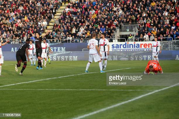 Zlatan Ibrahimovic of Milan celebrates his goal 02 during the Serie A match between Cagliari Calcio and AC Milan at Sardegna Arena on January 11 2020...
