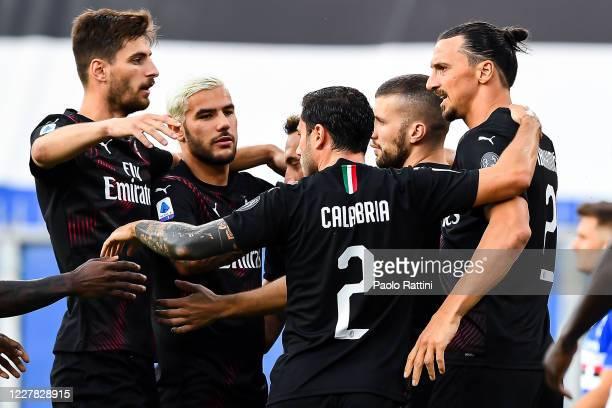 Zlatan Ibrahimovic of Milan celebrates with his team-mates after scoring a goal during the Serie A match between UC Sampdoria and AC Milan at Stadio...
