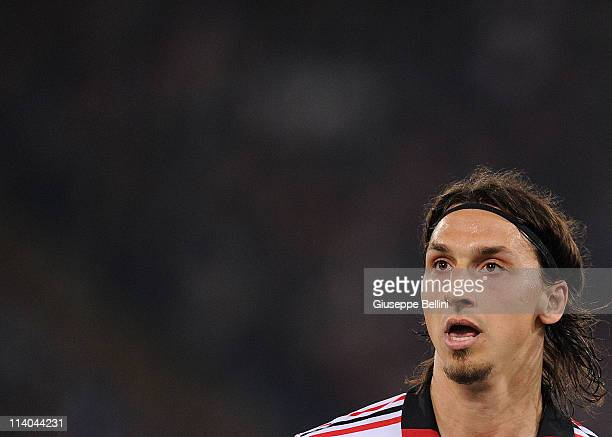Zlatan Ibrahimovic of Milan during the Serie A match between AS Roma and AC Milan at Stadio Olimpico on May 7 2011 in Rome Italy