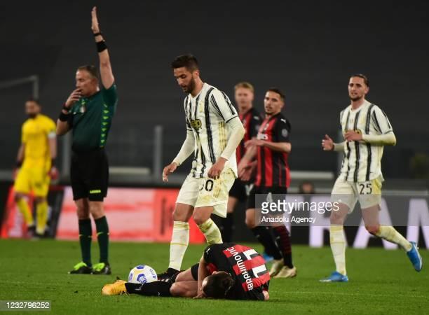 Zlatan Ibrahimovic of Milan gets injured during Serie A match between Juventus and Milan at Allianz Stadium on May 09, 2021 in Turin, Italy.