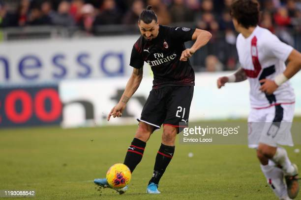Zlatan Ibrahimovic of Milan in action during the Serie A match between Cagliari Calcio and AC Milan at Sardegna Arena on January 11 2020 in Cagliari...