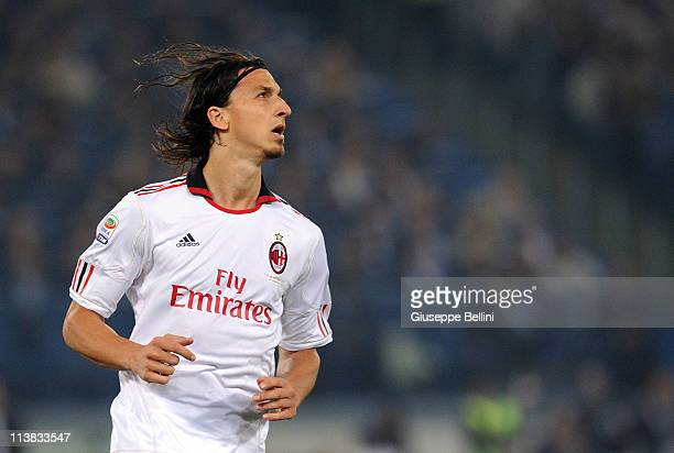 Zlatan Ibrahimovic of Milan in action during the Serie A match between AS Roma and AC Milan at Stadio Olimpico on May 7 2011 in Rome Italy