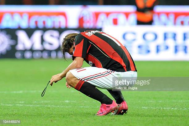 Zlatan Ibrahimovic of Milan looks on after winning the Serie A match between Milan and Genoa at Stadio Giuseppe Meazza on September 25 2010 in Milan...