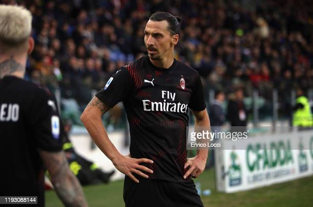 Zlatan Ibrahimovic of Milan looks on during the Serie A match between Cagliari Calcio and AC Milan at Sardegna Arena on January 11 2020 in Cagliari...