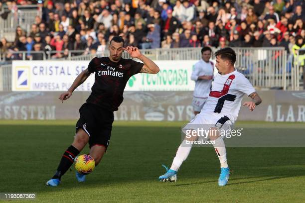 Zlatan Ibrahimovic of Milan scores his goal 02 during the Serie A match between Cagliari Calcio and AC Milan at Sardegna Arena on January 11 2020 in...