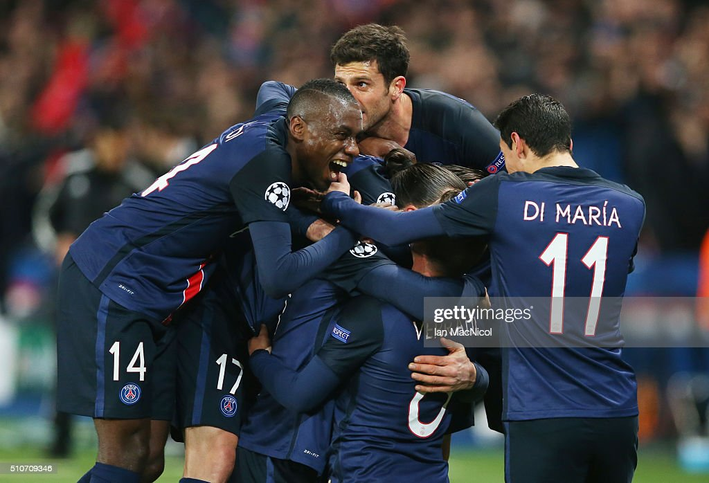 Zlatan Ibrahimovic of Paris Saint Germain celebrates after he scores during the UEFA Champions League Round of 16 First Leg match between Paris Saint-Germain and Chelsea at Parc des Princes on February 16, 2016 in Paris, France.