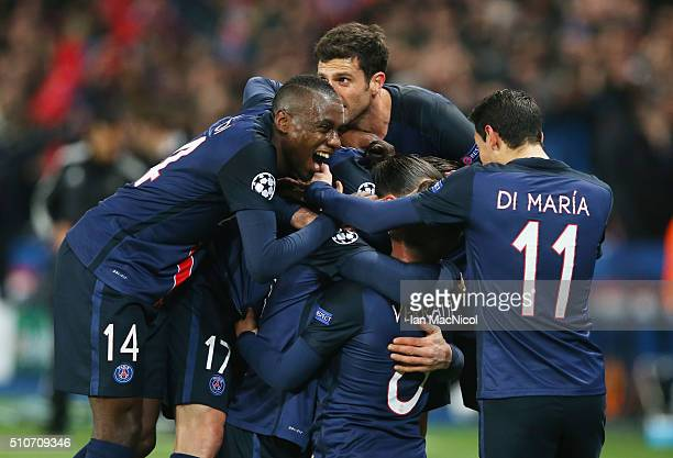 Zlatan Ibrahimovic of Paris Saint Germain celebrates after he scores during the UEFA Champions League Round of 16 First Leg match between Paris...
