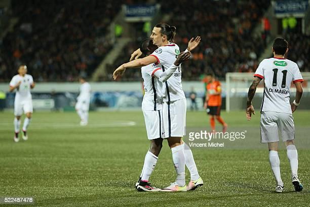 Zlatan Ibrahimovic of Paris Saint Germain celebrates his first goal during the semi-final French Cup between Lorient and Paris Saint-Germain at Stade...