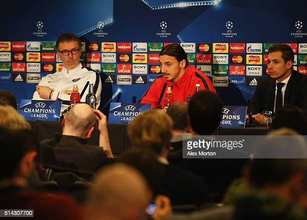 Zlatan Ibrahimovic of Paris SaintGermain and Laurent Blanc manager of Paris SaintGermain look on during a Paris SaintGermain press conference ahead...