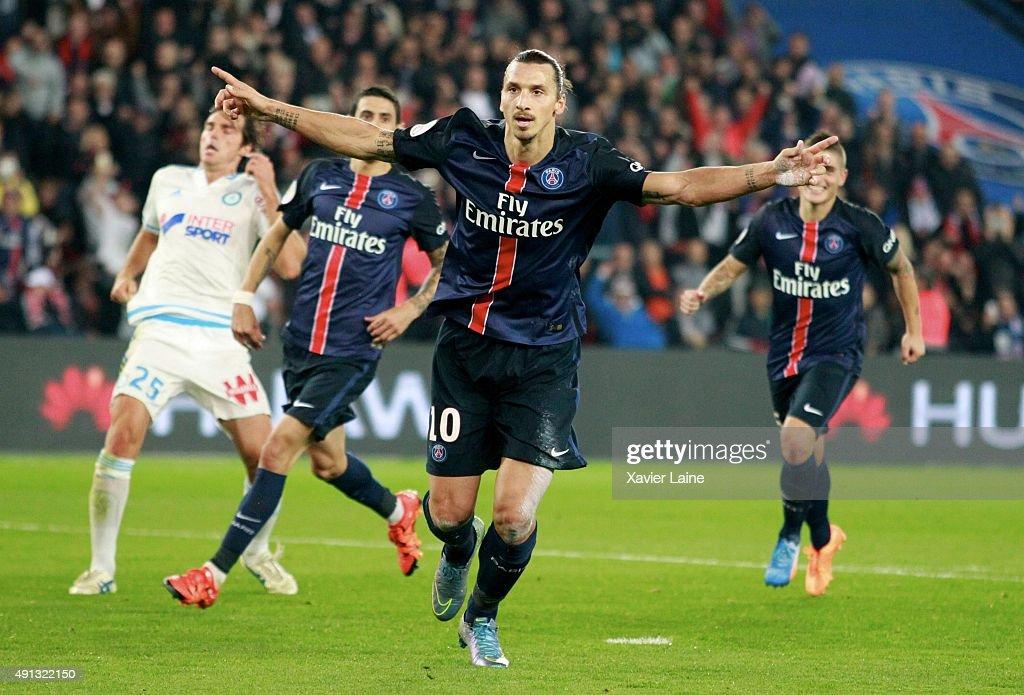 Zlatan Ibrahimovic of Paris Saint-Germain celebrate his goal during the French Ligue 1 between Paris Saint-Germain and Olympique de Marseille at Parc Des Princes on october 4, 2015 in Paris, France.
