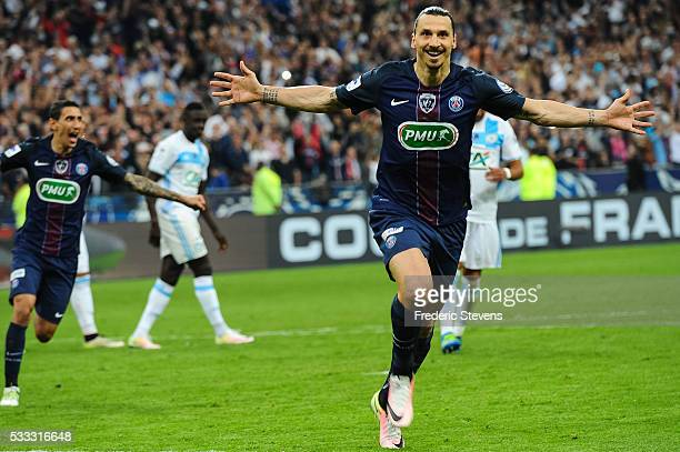Zlatan Ibrahimovic of Paris SaintGermain celebrate his goal during the final French Cup between Paris SaintGermain and Olympique de Marseille at...