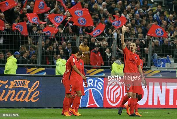 Zlatan Ibrahimovic of Paris SaintGermain celebrate his goal with teammattes during the French League Cup Final between Paris SaintGermain and SC...