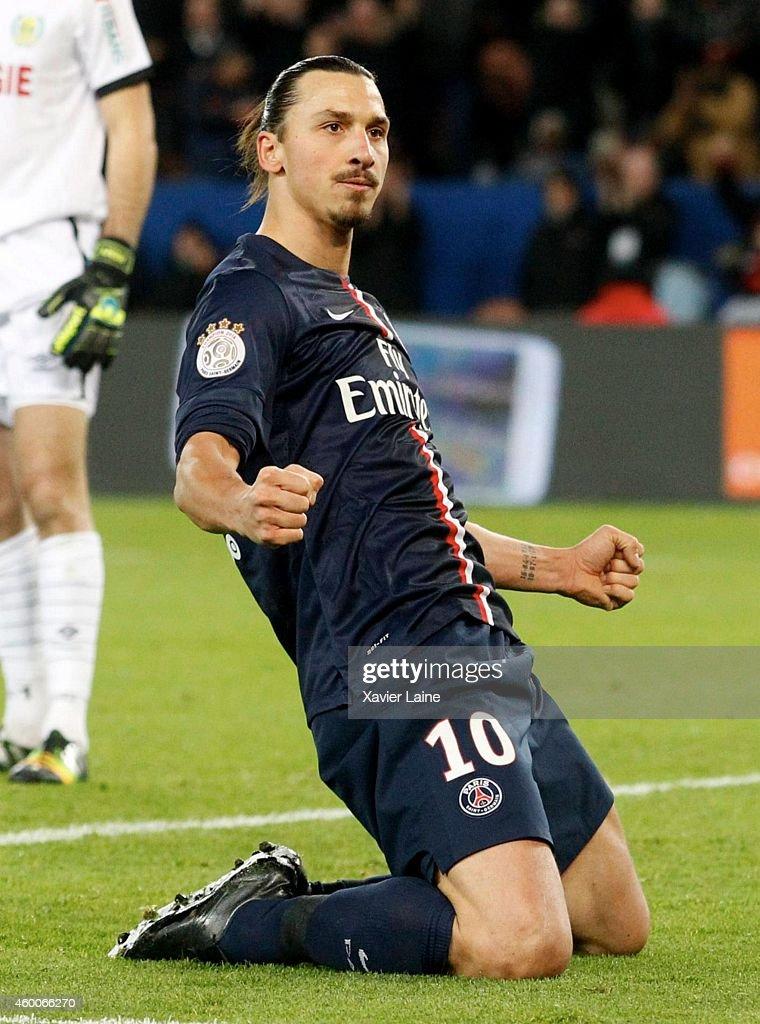 Zlatan Ibrahimovic of Paris Saint-Germain celebrates his first goal during the French Ligue 1 between Paris Saint-Germain FC and FC Nantes at Parc Des Princes on December 06, 2014 in Paris, France.